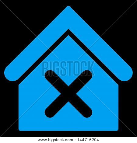 Wrong House icon. Glyph style is flat iconic symbol, blue color, black background.
