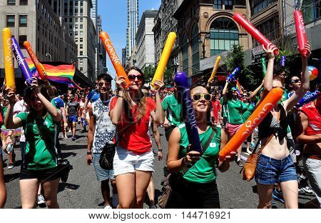 New York City - June 29 2014: Marchers from GOOGLE at the 2014 Gay Pride Parade on Fifth Avenue