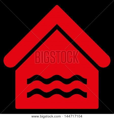Water Pool icon. Glyph style is flat iconic symbol, red color, black background.