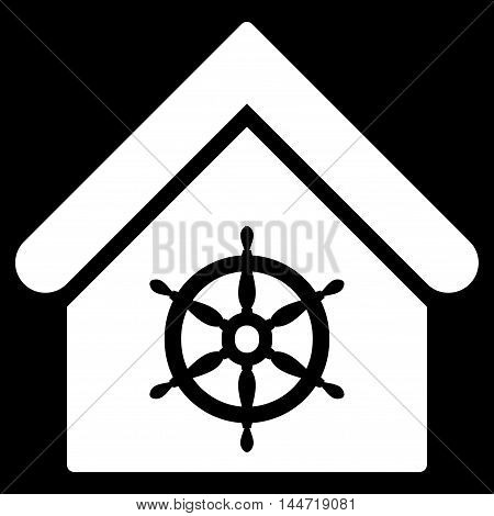 Steering Wheel House icon. Glyph style is flat iconic symbol, white color, black background.