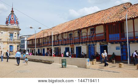 Zipaquira, Cundinamarca / Colombia - January 19 2016: Daily activity in the Plaza Los Comuneros in the town of Zipaquira