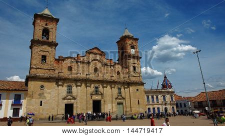 Zipaquira, Cundinamarca / Colombia - January 19 2016: View Diocesan Cathedral of Zipaquira. Is dedicated to the support of the Holy Trinity and St. Anthony of Pauda, it was built between 1805 and 1916