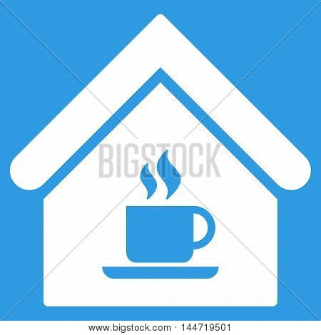 Cafe House icon. Glyph style is flat iconic symbol, white color, blue background.