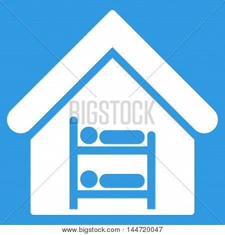 Hostel icon. Glyph style is flat iconic symbol, white color, blue background.