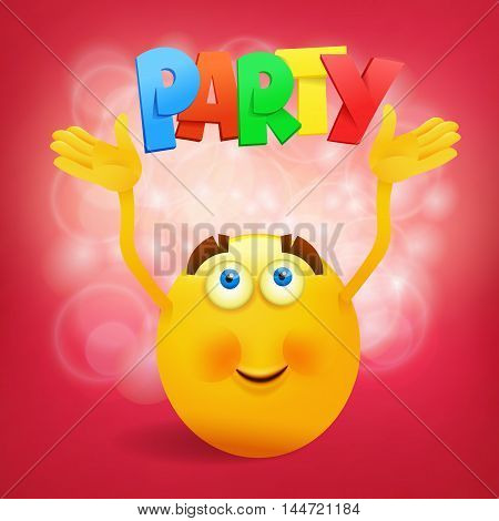 Yellow round smiley face with party title. Vector illustration