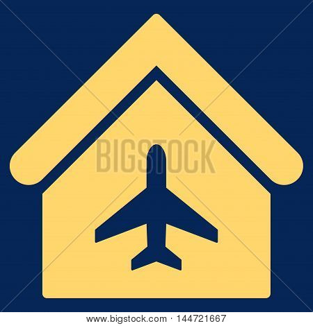 Aircraft Hangar icon. Glyph style is flat iconic symbol, yellow color, blue background.