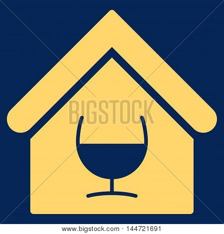 Alcohol Bar icon. Glyph style is flat iconic symbol, yellow color, blue background.