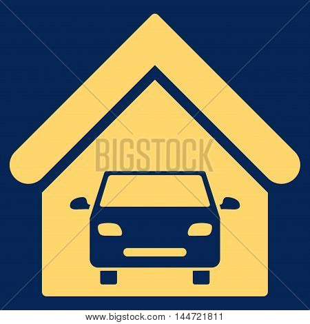 Car Garage icon. Glyph style is flat iconic symbol, yellow color, blue background.