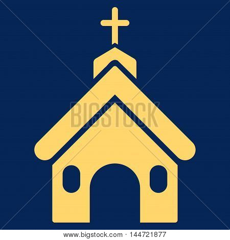 Church icon. Glyph style is flat iconic symbol, yellow color, blue background.