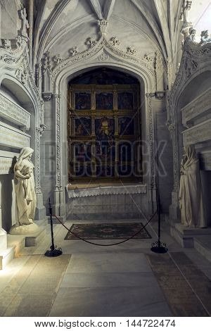 CUENCA SPAIN - August 24 2016: Inside the Cathedral of Cuenca Chapel of the Assumption call as well as the Chapel of Martina Lasso and even as a chapel of pantheon founded toward the year 1511 by Gregorio Alvarez de Alcalá Cuenca Patrimony of the humanity