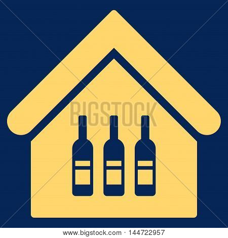 Wine Bar icon. Glyph style is flat iconic symbol, yellow color, blue background.