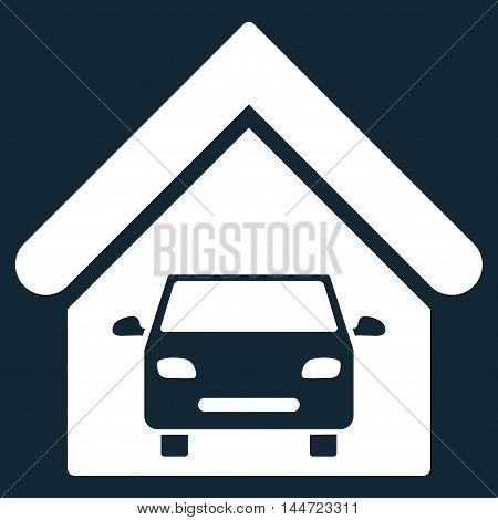 Car Garage icon. Glyph style is flat iconic symbol, white color, dark blue background.