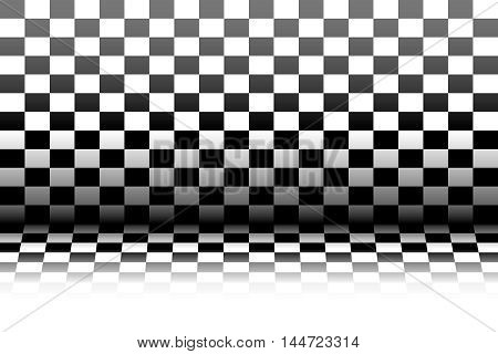 Room in the style of a chessboard - vector illustration.