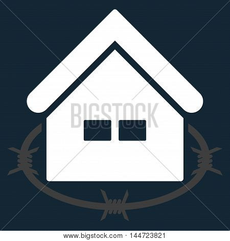 Prison Building icon. Glyph style is flat iconic symbol, white color, dark blue background.