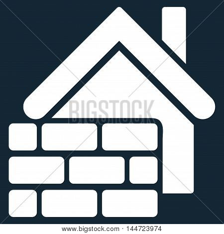 Realty Brick Wall icon. Glyph style is flat iconic symbol, white color, dark blue background.