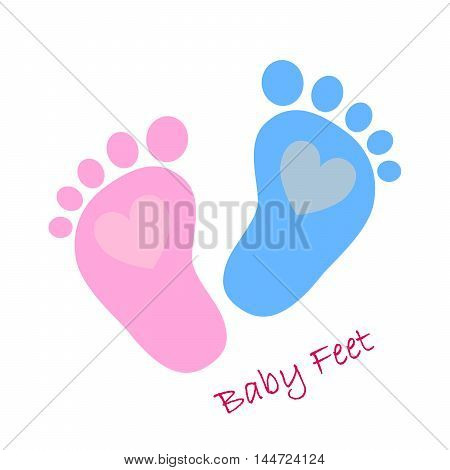 Simple baby footprints - vector illustration. Red and blue baby footprints with image of the hearts inside.