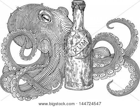 Black and white engraving stile image with octopus holding the bottle of rum