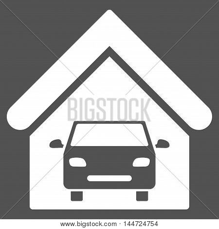 Car Garage icon. Glyph style is flat iconic symbol, white color, gray background.