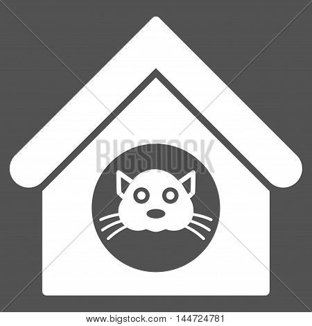 Cat House icon. Glyph style is flat iconic symbol, white color, gray background.