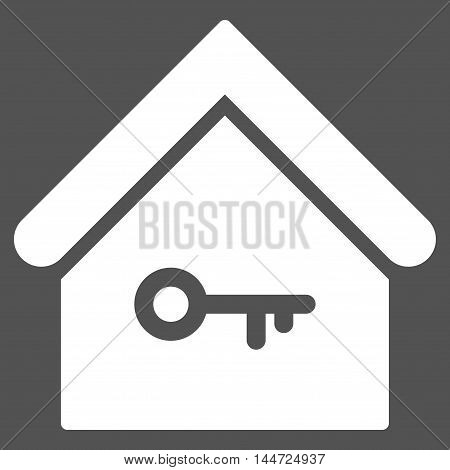 Home Key icon. Glyph style is flat iconic symbol, white color, gray background.