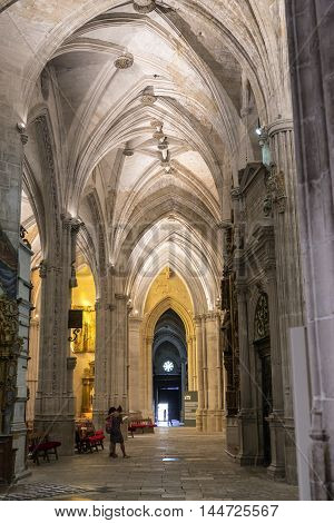 CUENCA SPAIN - August 24 2016: Detail of vault of Cathedral of Our Lady of Grace and Saint Julian of Cuenca. Castilla-La Mancha Spain