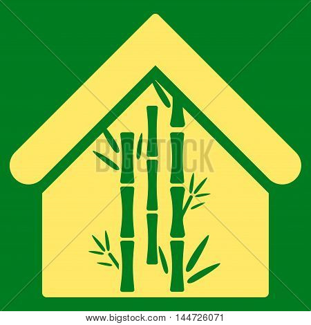 Bamboo House icon. Glyph style is flat iconic symbol, yellow color, green background.