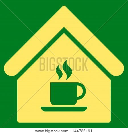 Cafe House icon. Glyph style is flat iconic symbol, yellow color, green background.