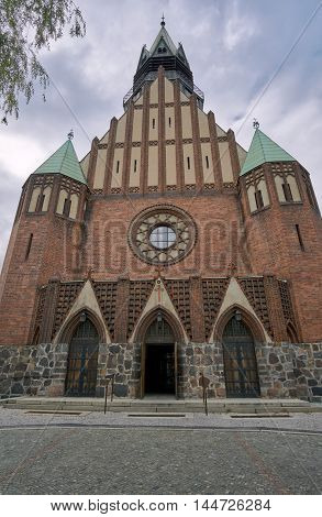 The entrance to the neo-Gothic Evangelic church in Poznan