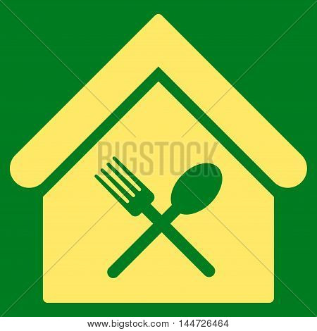Food Court icon. Glyph style is flat iconic symbol, yellow color, green background.