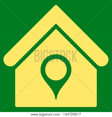 House Location icon. Glyph style is flat iconic symbol, yellow color, green background.