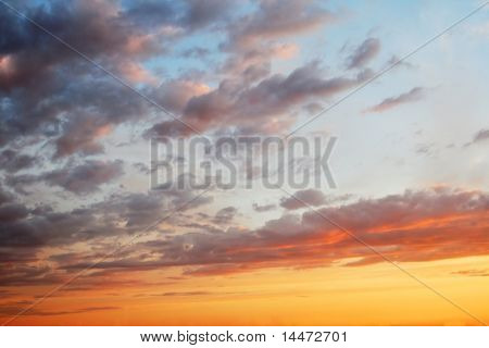 sunset sky with lighted clouds