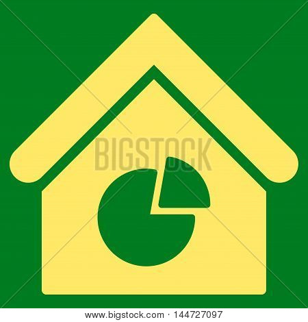 Realty Pie Chart icon. Glyph style is flat iconic symbol, yellow color, green background.