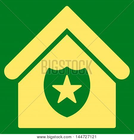 Realty Protection icon. Glyph style is flat iconic symbol, yellow color, green background.