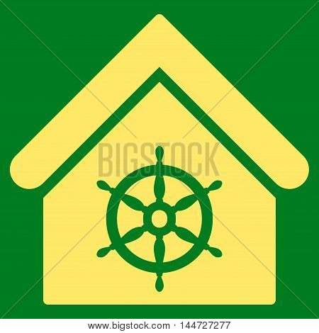 Steering Wheel House icon. Glyph style is flat iconic symbol, yellow color, green background.