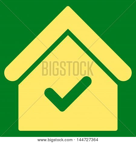 Valid House icon. Glyph style is flat iconic symbol, yellow color, green background.