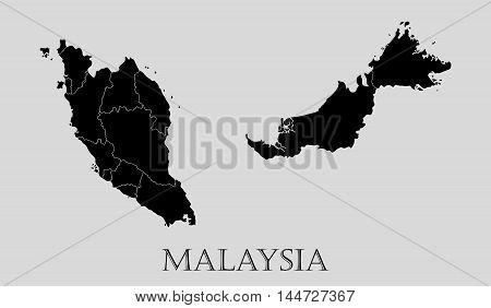 Black Malaysia map on light grey background. Black Malaysia map - vector illustration.