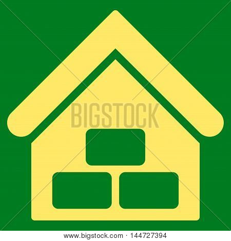 Warehouse icon. Glyph style is flat iconic symbol, yellow color, green background.