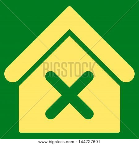 Wrong House icon. Glyph style is flat iconic symbol, yellow color, green background.