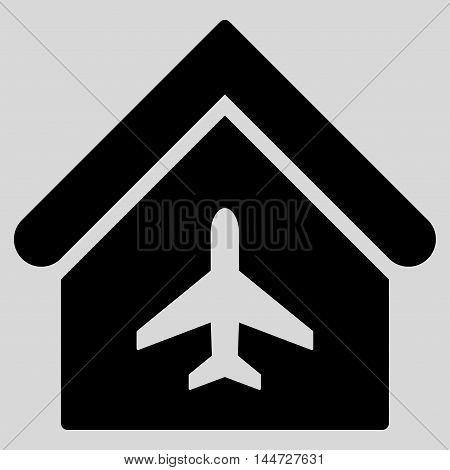 Aircraft Hangar icon. Glyph style is flat iconic symbol, black color, light gray background.