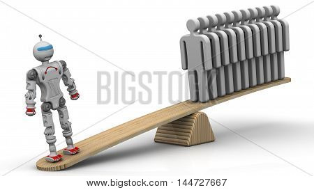 One robot weighed on the scales with a group of gray human symbols. The concept of comparing the the robot and the person. One cyborg replaces several people. Isolated. 3D Illustration