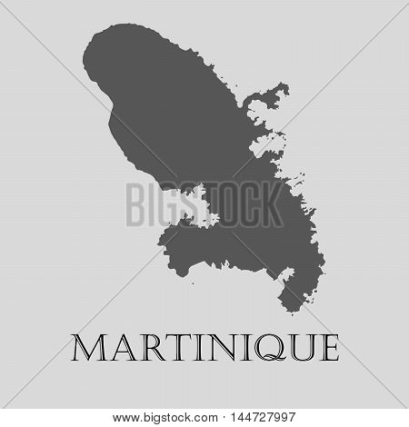 Gray Martinique map on light grey background. Gray Martinique map - vector illustration.