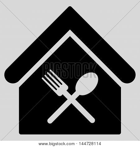 Food Court icon. Glyph style is flat iconic symbol, black color, light gray background.
