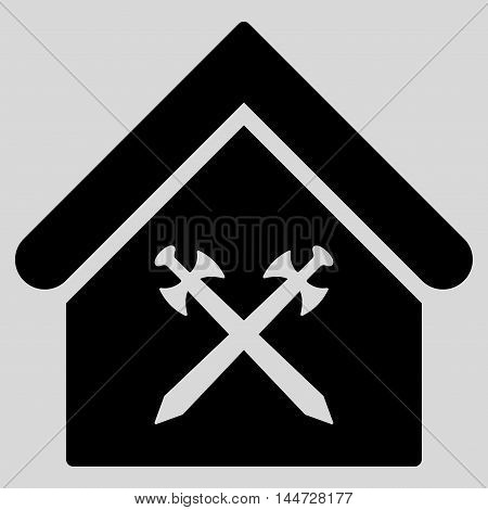 Guard Office icon. Glyph style is flat iconic symbol, black color, light gray background.