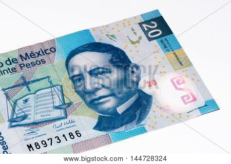 20 Mexican pesos bank note made in 2007