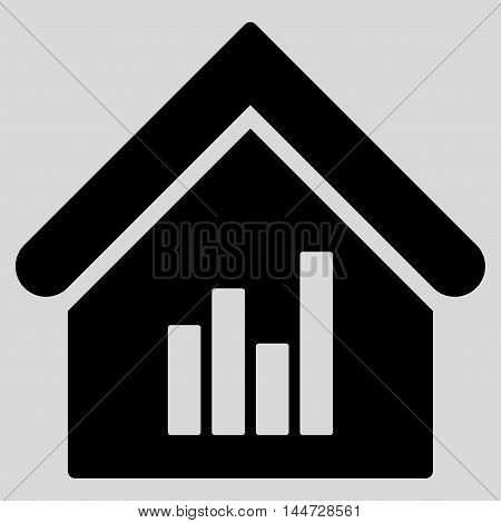 Realty Bar Chart icon. Glyph style is flat iconic symbol, black color, light gray background.