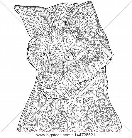 Stylized fox (wolf or dog) isolated on white background. Freehand sketch for adult anti stress coloring book page with doodle and zentangle elements.