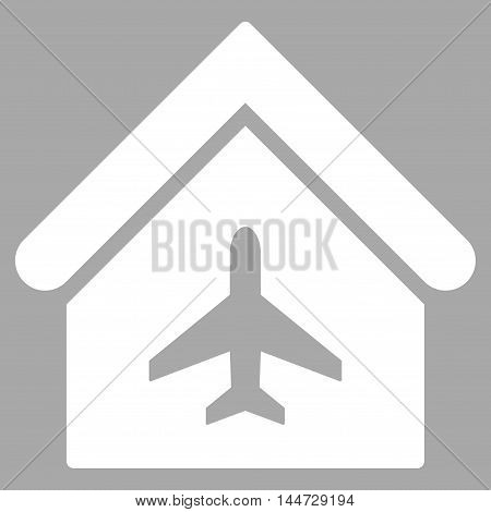 Aircraft Hangar icon. Glyph style is flat iconic symbol, white color, silver background.