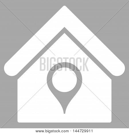 House Location icon. Glyph style is flat iconic symbol, white color, silver background.