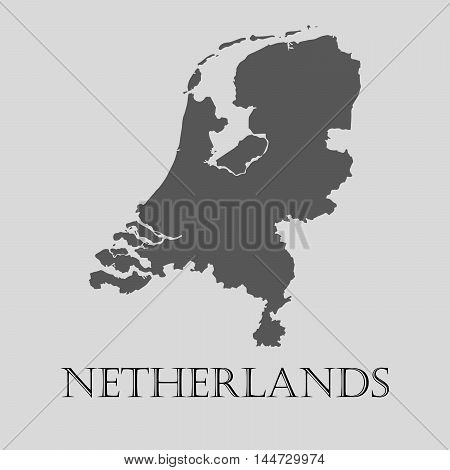 Gray Netherlands map on light grey background. Gray Netherlands map - vector illustration.