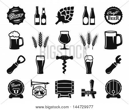beer, brewing, ingredients, consumer culture. set of black icons on a white background poster
